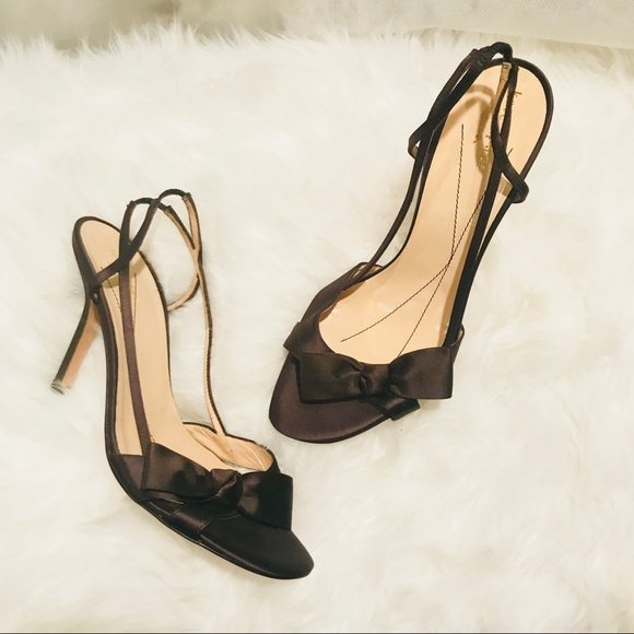 4c98d2c3f98 kate spade Shoes - Kate Spade Chocolate Bow Satin Leather Heels Shoes